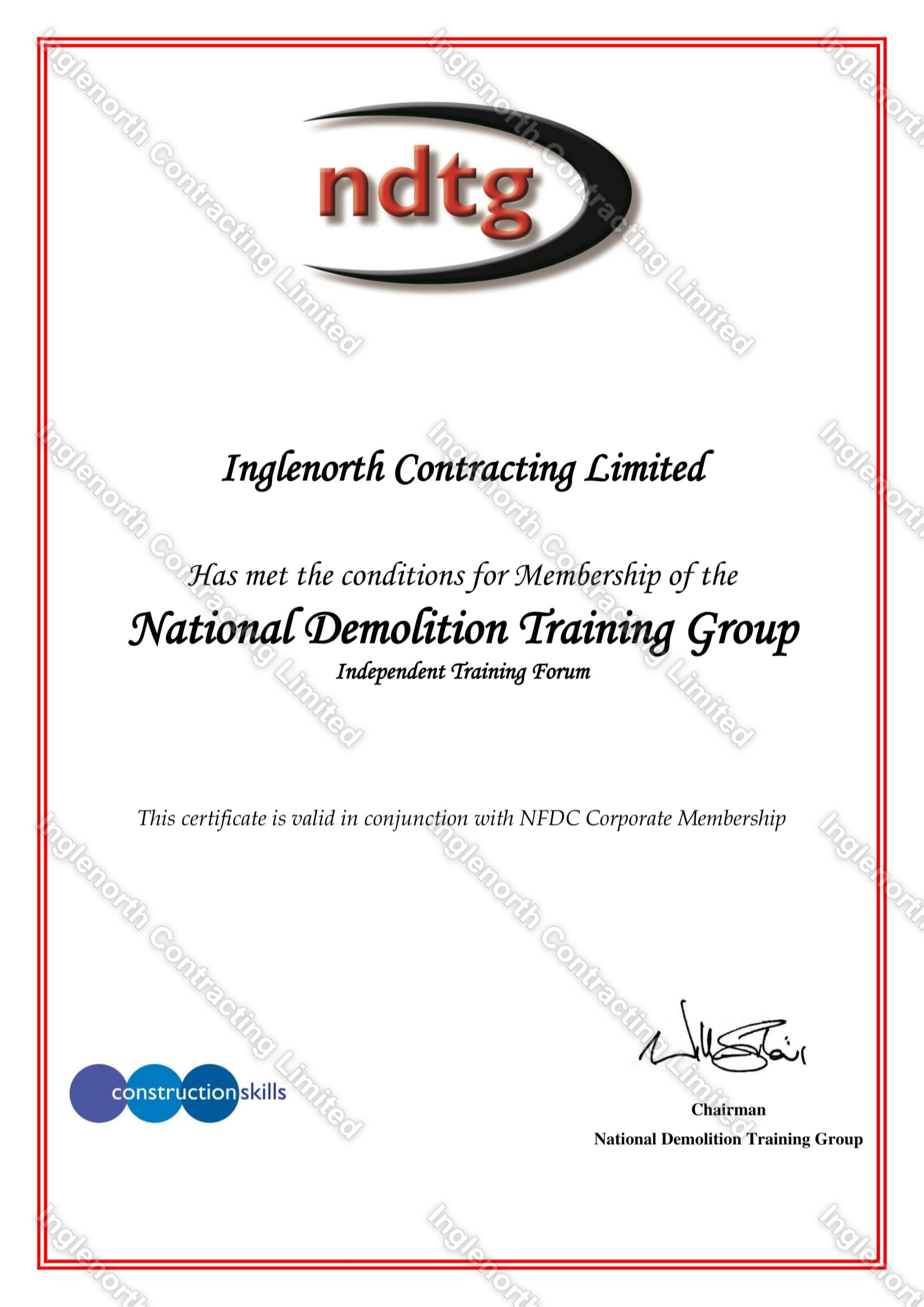 NDTG – National Demolition Training Group